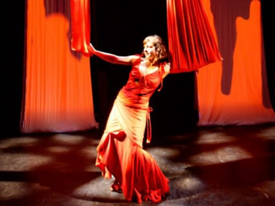 Danseuse en robe rouge - aerial fabric, show, art
