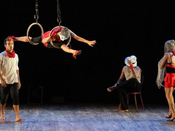 Artiste aérien sur petits cercles - cirque contemporain