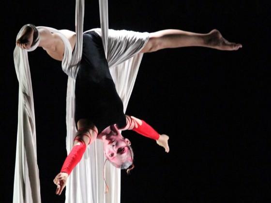 Danseuse suspendue à un tissu - création artistique, tissu