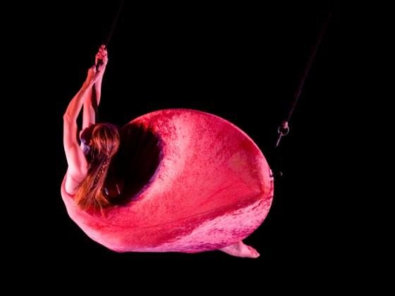 Danseuse aérienne dans une robe cerceau rouge - tissus aériens